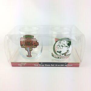 A Christmas Story Movie Memorabilia Set of 2 Tear Drop Glass 20 oz New in Box