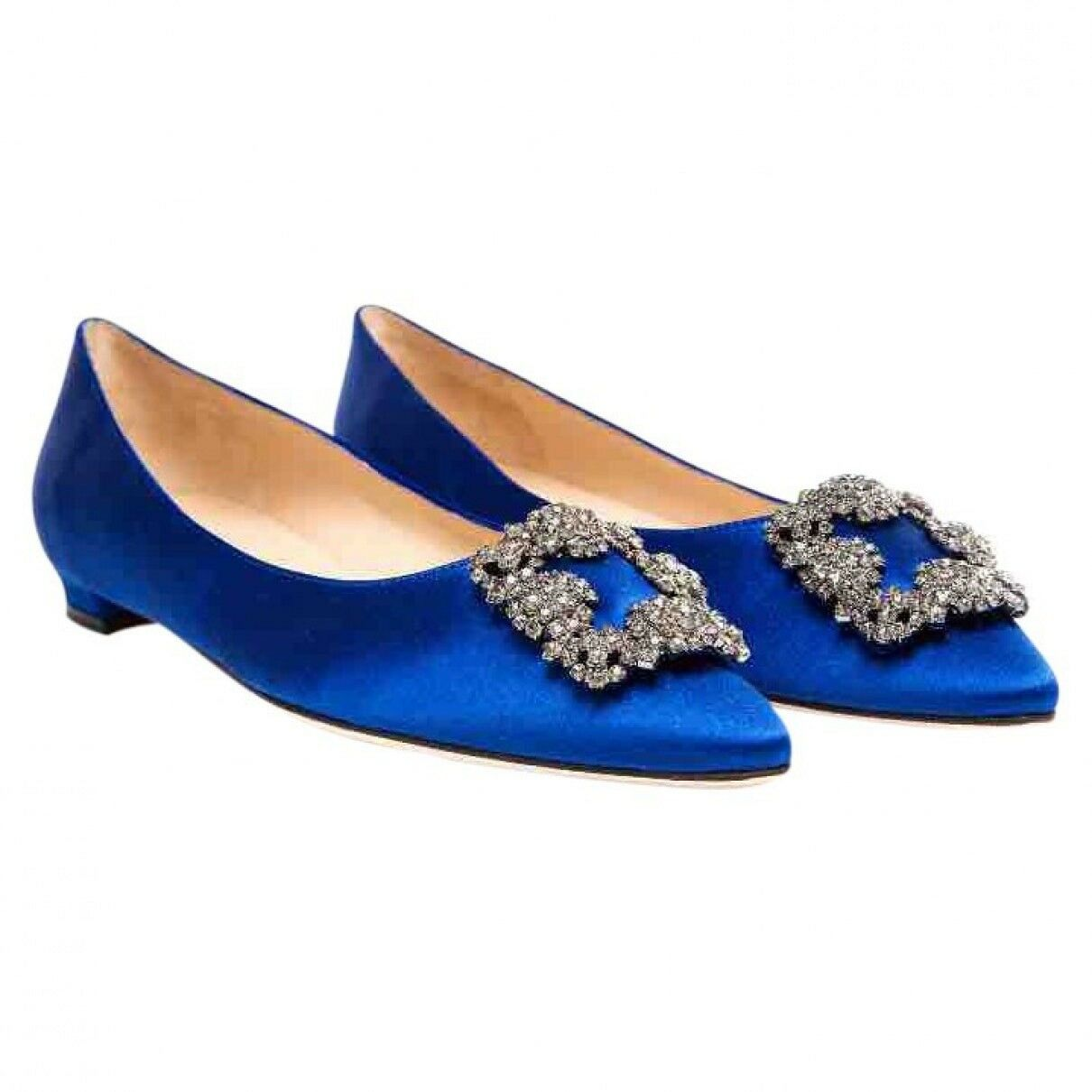 NUOVO CON SCATOLA Manolo Blahnik hangisi Royal Blue Crystal Flats 36.5