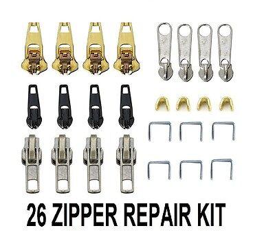 26 pcs zip fermeture éclair cassé réparation remplacement Fix Kit Jeans Pantalon Pent Manteau