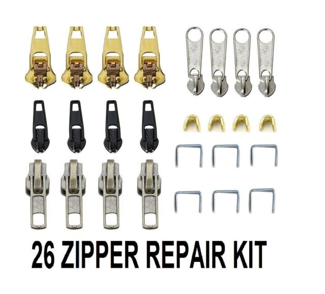 26pcs Zip Zipper Replacement Broken Repair Rescue Fix Kit Jeans Trouser Coat