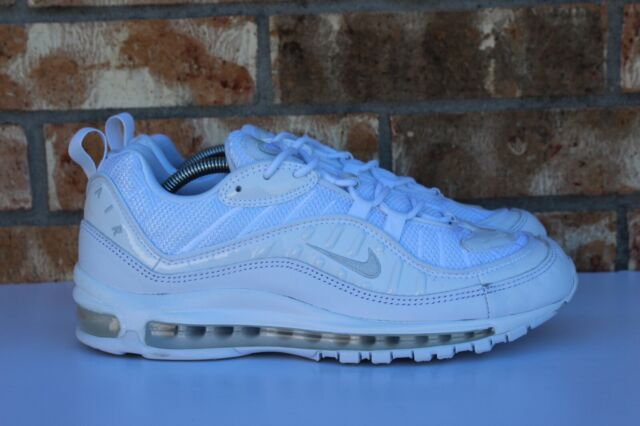 buy popular 57f9e 86154 Men's Nike Air Max 98 Running Shoes Triple White Pure Platinum Sz 9.5  640744 106