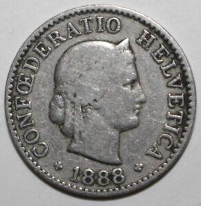 Swiss Confederation 5 Rappen Coin 1888 B KM# 26 Switzerland Helvetia Five