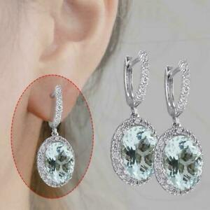 AQUAMARINE-Sterling-Aquamarine-Gemstone-Bridal-Ear-Dangle-Hoops-Studs-I5H6-K0K9