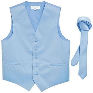 "New Men's Formal Tuxedo Vest Waistcoat_1.5"" skinny Necktie light blue wedding"