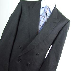 Nadelstreifen Herren grau Wollmischung doppelte Knopfleiste Anzug Jacke Größe 44