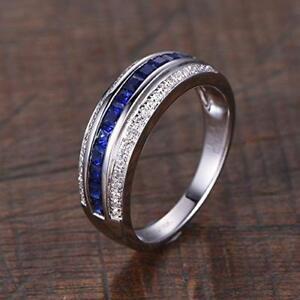 14k-White-Gold-Over-2CT-Princess-Cut-Sapphire-amp-Diamond-Unisex-Wedding-Band-Ring