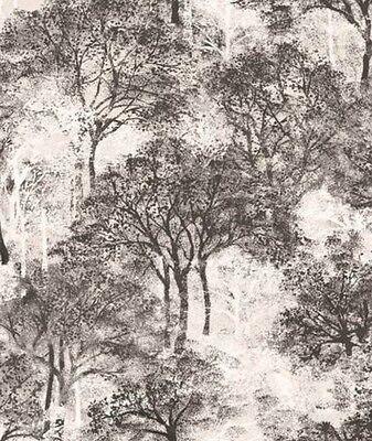 Wallpaper Modern Designer Black White and Gray Tree Silhouettes