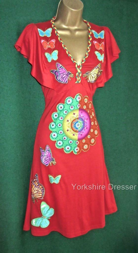 New DESIGUAL Red FECHA Fit'N'Flare Stretch Jersey Butterfly DRESS -Small