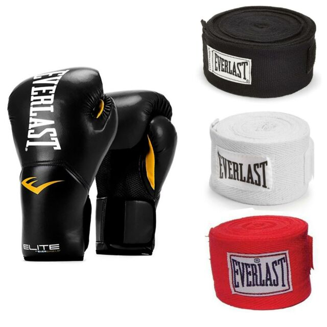 Everlast Elite Pro Boxing Gloves Size 14 Black and 120 Inch Hand Wraps Black