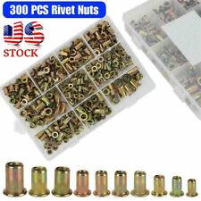 New Listing300pc Zinc Steel Rivet Nut Kit Rivnut Nutsert Assort 150x Metric 150x Sae Usa