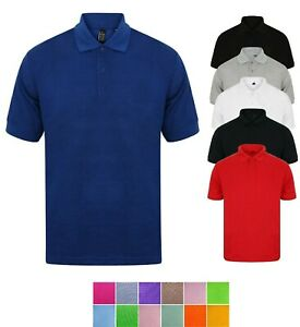 Mens-Polo-Shirt-Plain-Shirts-Pique-Tee-New-Golf-Work-Casual-Cotton-Blend