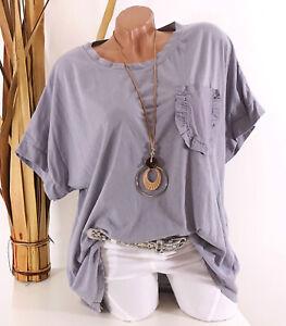 Italy Oversize Shirt 42 44 46 48 grau Volant Tasche Kette Vintage Long Tunika