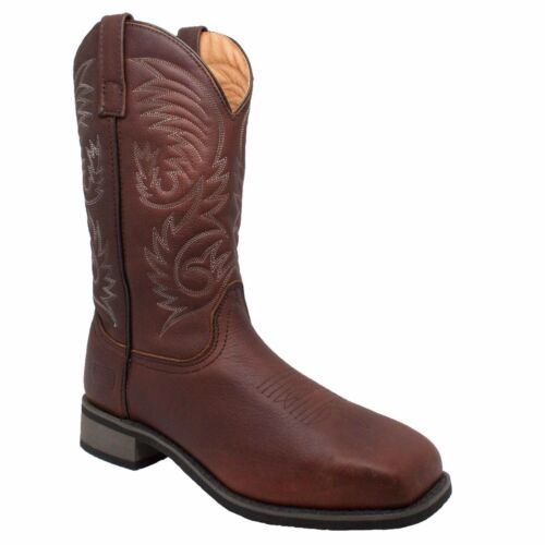 Men/'s 11/'/' Steel Square Toe Western Pull On Leather Boot 9555 AdTec Brown