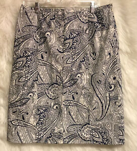 TALBOTS-Paisley-Blue-White-Skirt-Unlined-A-Line-Side-Zip-Sz-12-EUC