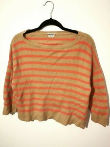 Vintage-S-M-BENETTON-Cashmere-Angora-Wool-Mix-Jumper-Orange-Stripe-Small-Medium