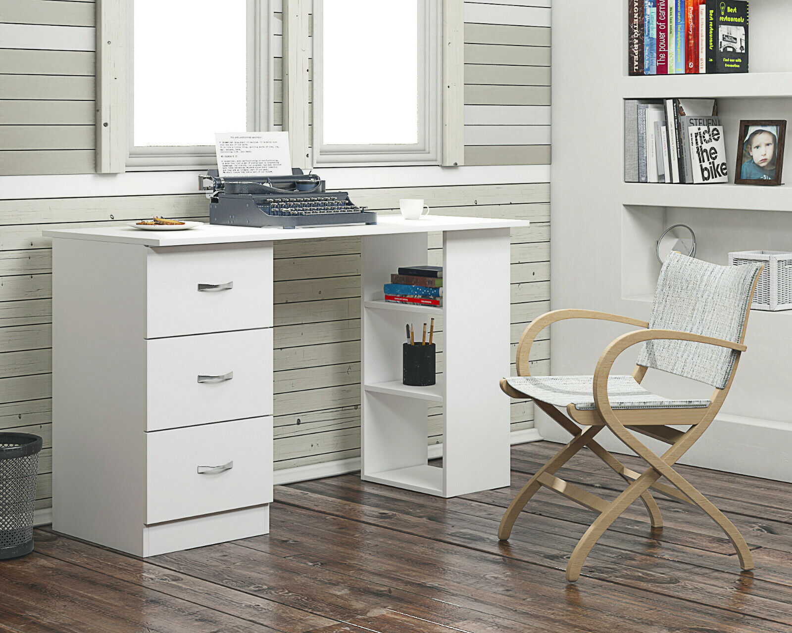 Image of: Modern Study Computer Desk 3 Shelf 3 Drawers White Ebay