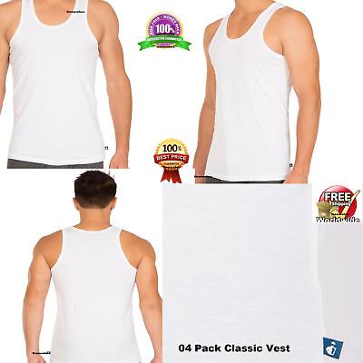 S M L XL XXL White 3 Mens Vests 100/% Cotton Interlock Singlets Underwear