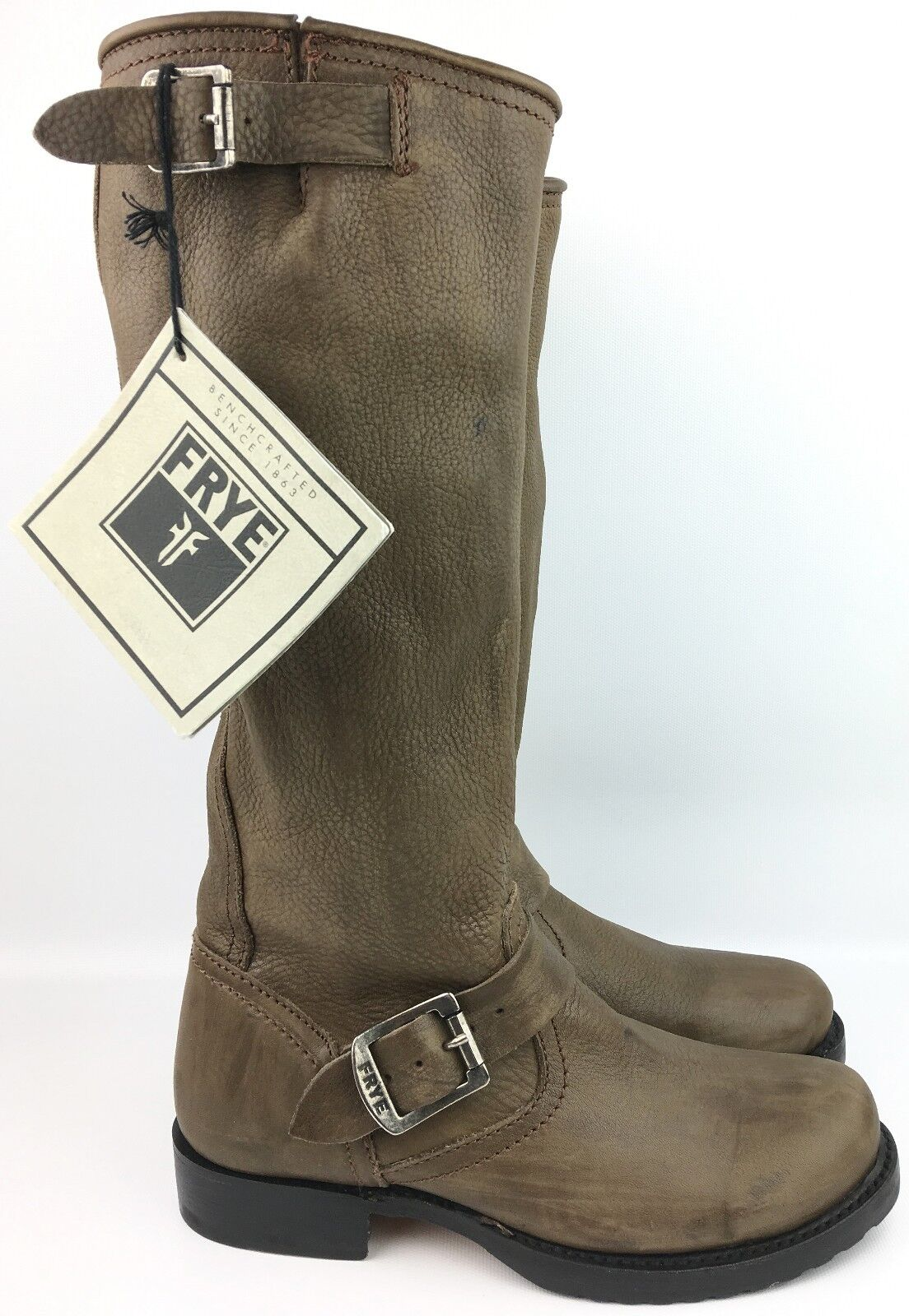 Frye Veronica Slouch Charcoal Vintage Tumbled Leather Boots 77618 sz  US 5.5