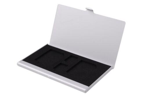 Metal Aluminio Hellfire Trading 4 en 1 Tarjeta de memoria SD TF Plata Estuche Soporte