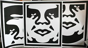 SHEPARD-FAIREY-ANDRE-FACE-TRIPTIC-LARGE-OFFSET-SIGNED-OBEY-GIANT-MINT