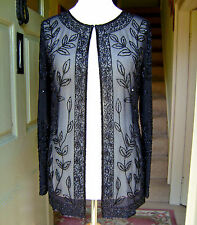 BHARAT EVENINGS Beaded Sequins Black Evening Cruise Occasion Party Jacket 12 NEW
