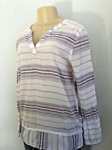 Old-Navy-Womens-Size-M-White-Pink-Blue-Striped-Popover-Sheer-Tunic-Top-Blouse