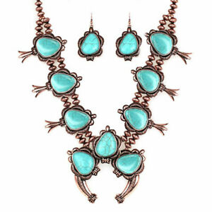SQUASH-BLOSSOM-NECKLACE-SET-in-bronze-and-turquoise-22-inch-adj