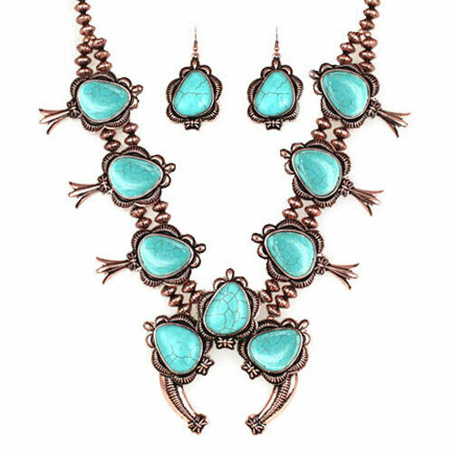 SQUASH BLOSSOM NECKLACE SET in bronze and turquoise  22 inch adj.