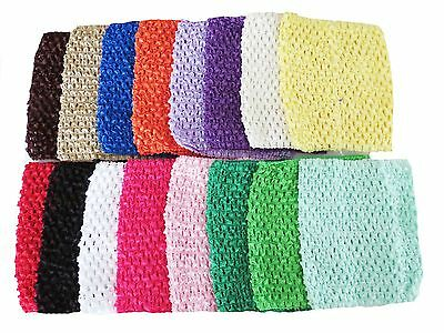 "Lot of (6)~ 6""Crochet Headbands Tutu Top U Pick Colors Fast USA Ship 22 colors"