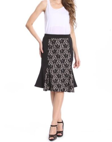 Flared Hem Black Mix Lace Panel Party Evening Flared Midi Skirt NEW Diff Sizes