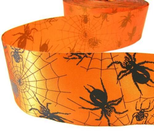 "5 Yds Halloween Dark Grey Spiders Spider Webs Fused Edge Satin Ribbon 2 3//4/""W"