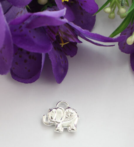 10PCS Silver Plate Elephant Charms FC19059
