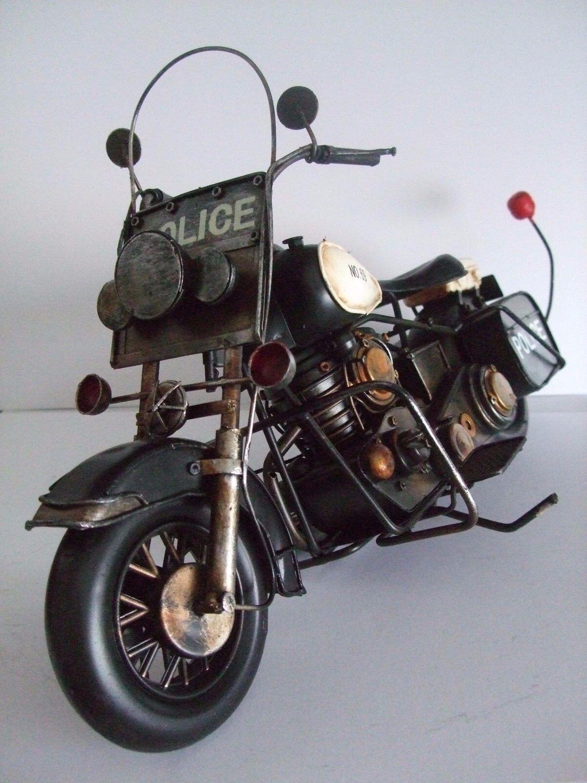La Polizia Motocicletta Latta Modello dipinti a mano Nero ornamento regalo N. 2