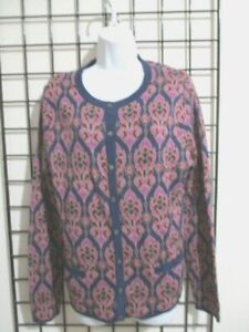 NWT-LANDS-039-END-WOMEN-039-S-MEDIUM-10-12-SUPIMA-COTTON-CARDIGAN-SWEATER-L-K