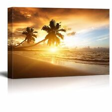 """Canvas Prints - Sunset on the Beach with Palm Trees of Caribbean Sea- 12"""" x 18"""""""