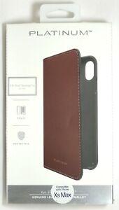 Platinum-genuine-Leather-Folio-Wallet-Case-for-Apple-iPhone-XS-Max-Bourbon