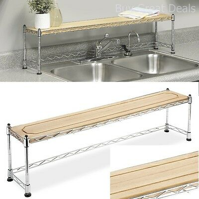 Kitchen Shelf Over Sink Rack Stand Steel Storage Shelves Organizer Counter  Small
