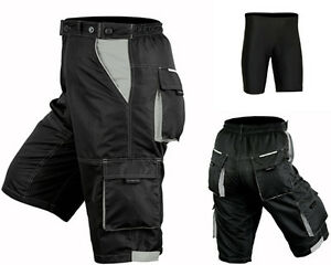 MTB-Cycling-Shorts-Cycle-Mountain-Bike-Off-Road-CoolMax-Padded-Inner-Lycra-Liner
