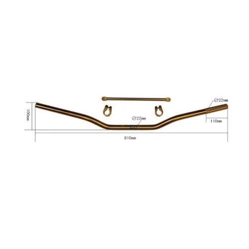 HMParts Pit Bike Dirt Bike Cross 810 mm Alu Lenker Strebe eloxiert Gold Typ 13
