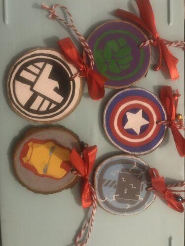 Handmade Painted Wooden Slice Marvel Avengers Christmas  Decorations Set Of 5