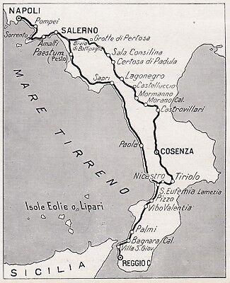 Calabria Costa Tirrenica Cartina.D7894 Costa Tirrenica Da Napoli A Reggio Calabria Mappa D Epoca 1937 Old Map Ebay