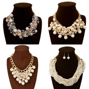 Fashion-Gold-Chain-Big-Resin-Pearl-Cluster-Chunky-Choker-Statement-Bib-Necklace