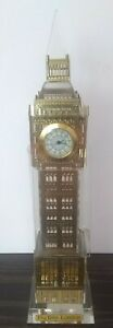 Gold-amp-Acrylic-Light-Up-Big-Ben-Statue-Clock-NIB