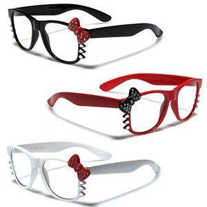 e102ac350 Hello Kitty Bow Rhinestone Women's Clear Lens Rx Sunglasses Nerd ...