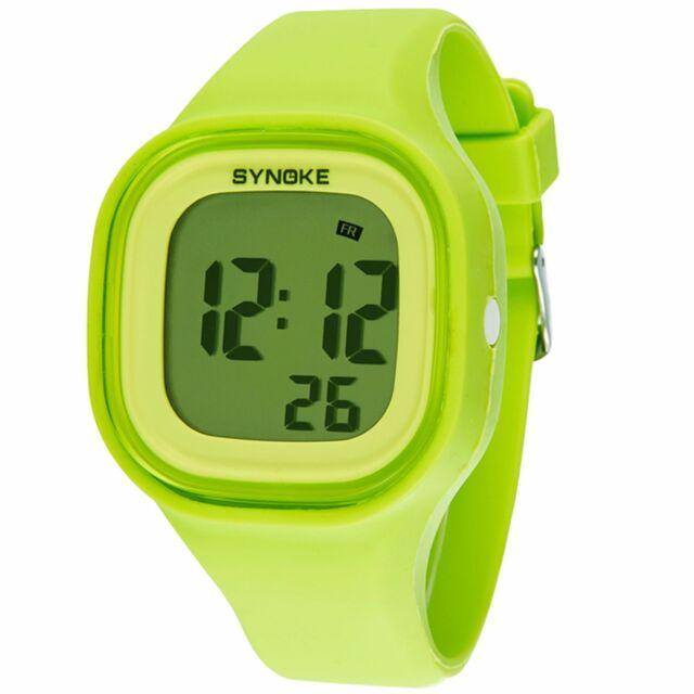 SYNOKE Silicone LED Light Digital Waterproof Sports Kids Girl Boy Wrist Watches