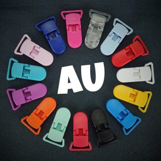 10 Colored Plastic KAM Paci Pacifier Suspender Dummy Clip Craft Badge Holder  AU