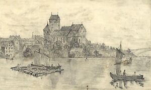 Arbon from Lake Constance, Switzerland – Mid-19th-century graphite drawing