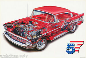 POSTER-TRANSPORTATION-1957-CHEVY-CUT-A-WAY-FREE-SHIPPING-24-785-RW8-L