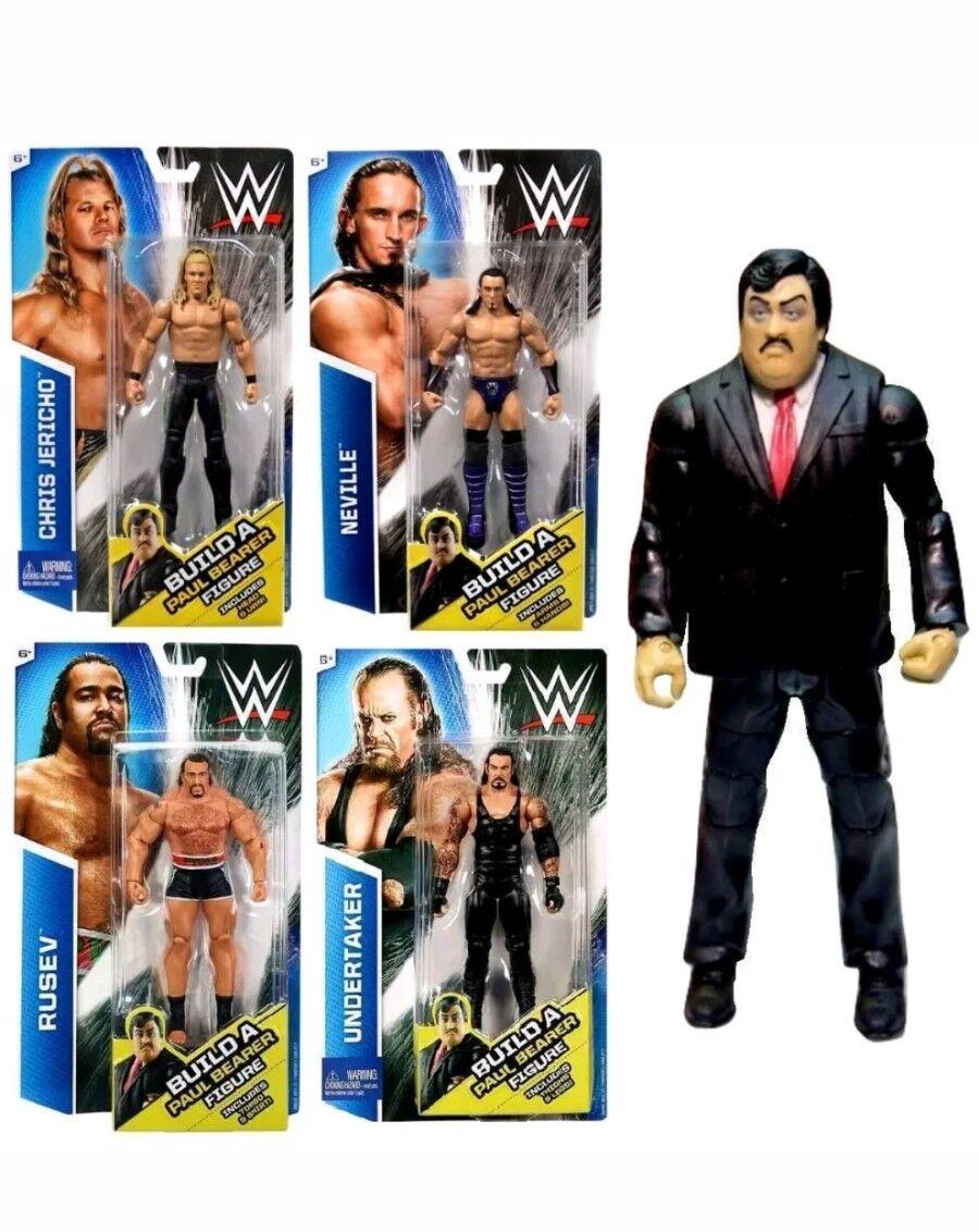 WWE MATTEL COSTRUIRE Paul Bearer Set di 4 Neville RUSEV JERICHO Undertaker NUOVO