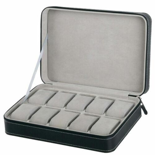 6//10//12 Slot Uhr Uhrenbox Reise Case Schmuck Display Aufbewahrungsbox Schwarz